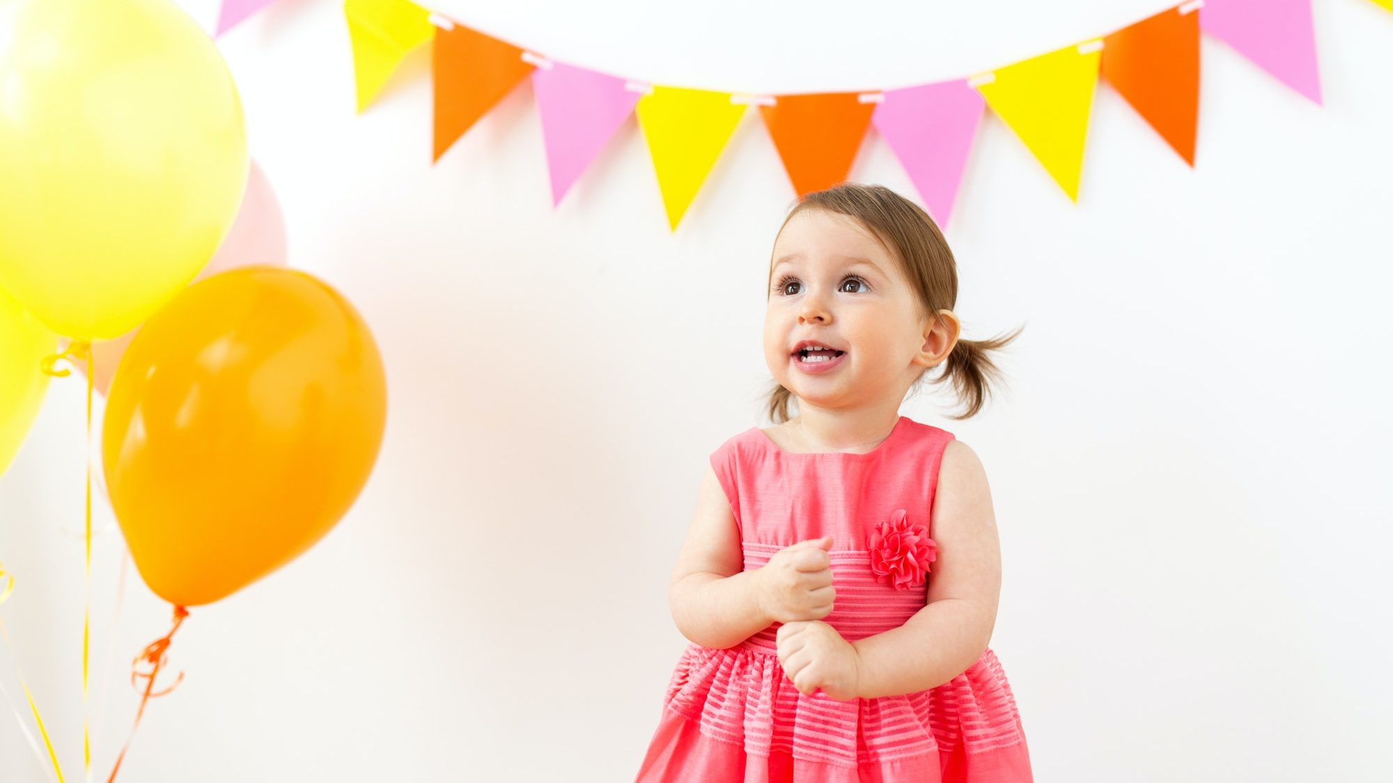 happy baby girl on birthday party